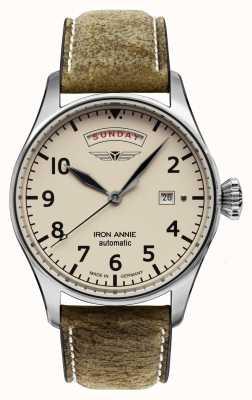 Iron Annie 自動飛行制御|茶色の革ストラップ|ベージュ文字盤 5164-3