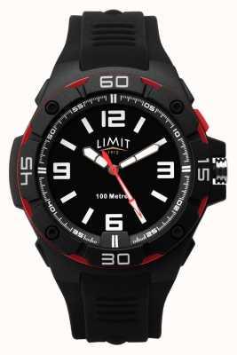 Limit |メンズブラックラバーストラップ|黒文字盤|赤/黒のベゼル 5789.65