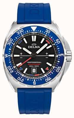 Delma オーシャンマスタークオーツ|青いラバーストラップ|黒文字盤 41501.676.6.048