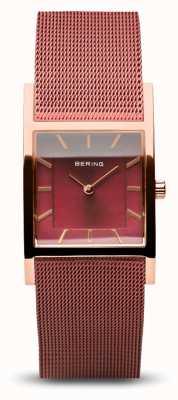 Bering 女性の定番|ポリッシュローズゴールド|赤いメッシュブレスレット 10426-363-S