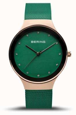 Bering 女性の定番|ポリッシュローズゴールド|グリーンメッシュストラップ| 12934-868
