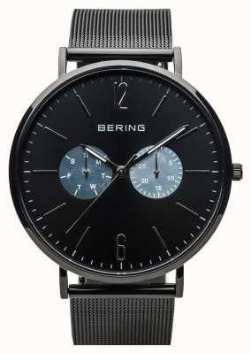 Bering ユニセックスクラシック|ポリッシュブラック|黒メッシュストラップ 14240-123