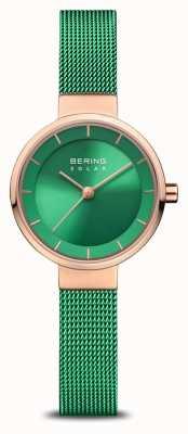 Bering 女性のチャリティー|ポリッシュ/ブラッシュローズ|緑のメッシュストラップ 14627-CHARITY