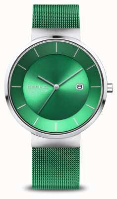 Bering メンズチャリティー|ポリッシュ/ブラッシュローズ|緑のメッシュストラップ 14639-CHARITY