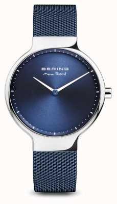 Bering マックス・レネ|ポリッシュシルバー|ブルーメッシュストラップ 15531-307