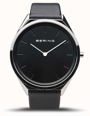 Bering 超スリム|ポリッシュシルバー|黒革ストラップ 17039-402