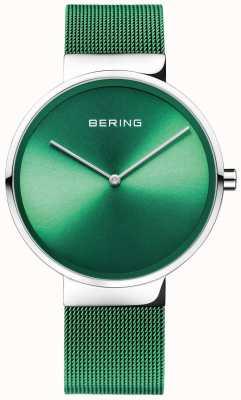 Bering クラシック|グリーンメッシュストラップ|緑の文字盤 14539-808