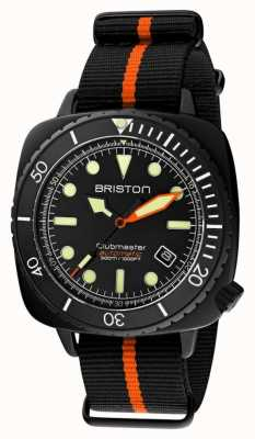 Briston クラブマスターダイバープロ|ブラック/オレンジnatoストラップ|黒文字盤 20644.PBAM.B.35.NBO