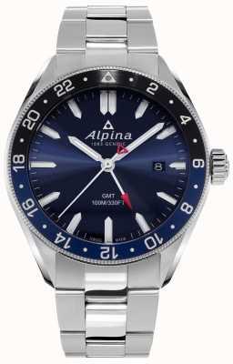 Alpina アルピナークォーツGMT |ブルーダイヤル|ステンレス鋼のブレスレット AL-247NB4E6B