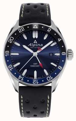 Alpina アルピナークォーツGMT |ブルーダイヤル|黒革ストラップ AL-247NB4E6