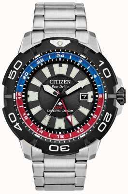 Citizen メンズプロマスターダイバーGMT |ステンレススチールブラックダイヤル|青と赤のアクセント BJ7128-59E