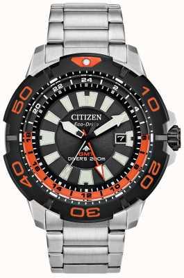 Citizen メンズプロマスターダイバーGMT |ステンレス鋼|黒の文字盤|オレンジのアクセント BJ7129-56E