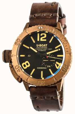 U-Boat Sommerso46ブロンズ自動ブラウンレザーストラップ 8486