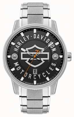 Harley Davidson 彼のためのメンズ! |ステンレススチールブレスレット|黒文字盤 76B182