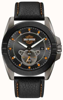 Harley Davidson 彼のためのメンズ! |黒革ストラップ|グレーの文字盤 78B182