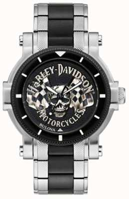 Harley Davidson 男性の頭蓋骨とフラグ|写真男性の頭蓋骨とフラグツートンスチールブレスレット|黒文字盤 78A124