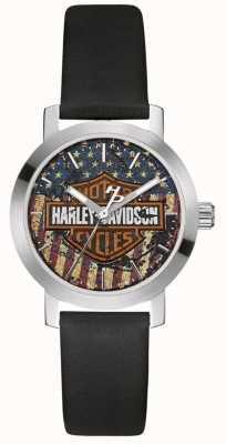 Harley Davidson レディースブラックレザーストラップ|アメリカ国旗ダイヤル 76L174