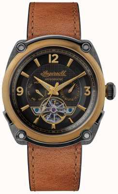 Ingersoll ミシガン|時計ワインダー|ブラウンストラップブラックダイヤル I01104