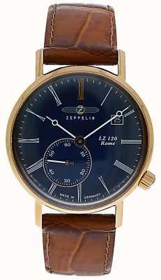 Zeppelin | lz120ローマレディ|ブラウンレザーストラップ|青い文字盤| 7137-3