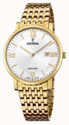 Festina メンズスイス製|金メッキスチールブレスレット|シルバーダイヤル F20020/1