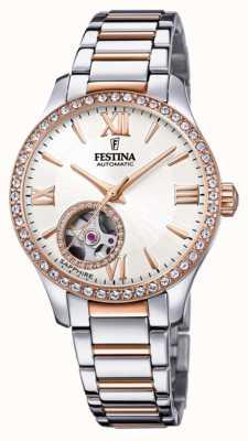 Festina 女性の自動|ツートンカラーのステンレススチールブレスレット|シルバーダイヤル F20487/1