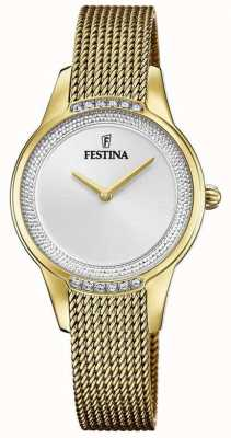 Festina 女性の金メッキスチールメッシュブレスレット|シルバークリスタルセットダイヤル F20495/1