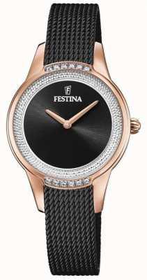 Festina 女性用ブラックスチールメッシュブレスレット|ブラッククリスタルセットダイヤル F20496/2