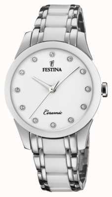 Festina 女性用セラミック|ツートンカラーのスチール/セラミックブレスレット|白い文字盤 F20499/1
