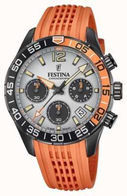 Festina メンズクロノグラフ|オレンジ色のシリコンストラップ|グレーの文字盤 F20518/1