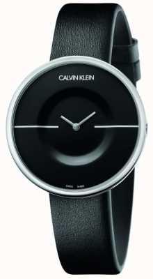 Calvin Klein マニア|女性用ブラックレザーストラップ|黒の文字盤 KAG231C1