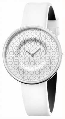 Calvin Klein マニア|女性用ホワイトレザーストラップ|白い文字盤 KAG231LX
