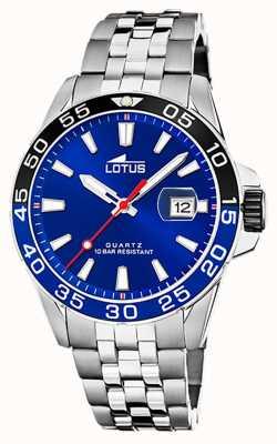 Lotus メンズステンレススチールブレスレット|青い文字盤|黒/青のベゼル L18766/1