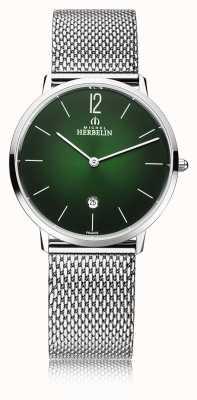 Michel Herbelin 市|メンズスチールメッシュブレスレット|緑の文字盤 19515/16NB
