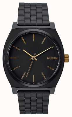 Nixon タイムテラー|マットブラック/ゴールド|ブラックIPスチールブレスレット|黒の文字盤 A045-1041-00