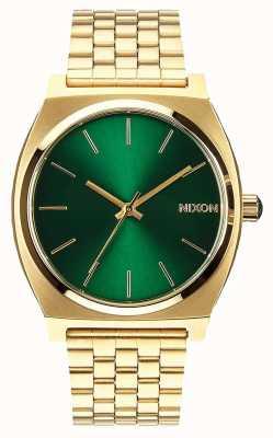 Nixon タイムテラー|ゴールド/グリーンサンレイ|ゴールドIPスチールブレスレット|緑の文字盤 A045-1919-00