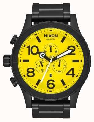 Nixon 51-30クロノ|オールブラック/イエロー|ブラックIPスチールブレスレット|イエローダイヤル A083-3132-00