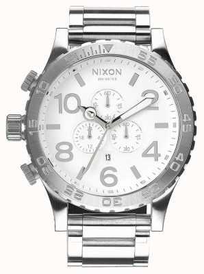 Nixon 51-30クロノ|ハイポリッシュ/ホワイト|ステンレス鋼のブレスレット|白い文字盤 A083-488-00