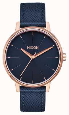 Nixon ケンジントンレザー ネイビー/ローズゴールド ブルーレザーストラップ 青い文字盤 A108-2195-00