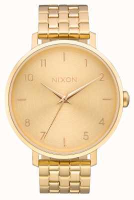 Nixon 矢印 オールゴールド ゴールドIPスチールブレスレット ゴールドダイヤル A1090-502-00