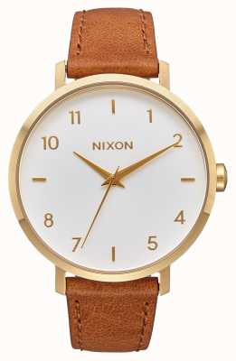 Nixon アローレザー ゴールド/ホワイト/サドル ブラウンレザーストラップ 白い文字盤 A1091-2621-00