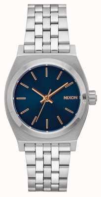 Nixon ミディアムタイムテラー ネイビー/ローズゴールド ステンレス鋼のブレスレット ネイビーダイヤル A1130-2195-00