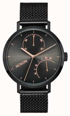 Nixon クラッチ ブラック/ガンメタル ブラックIPスチールメッシュ 黒の文字盤 A1166-1420-00