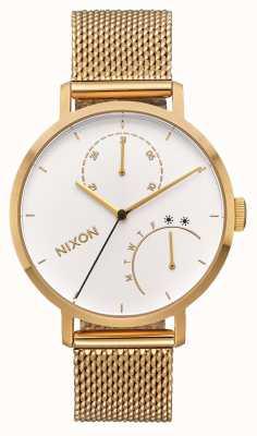 Nixon クラッチ オールゴールド/ホワイト ゴールドIPメッシュブレスレット 白い文字盤 A1166-504-00