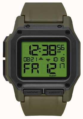 Nixon レグルス|余剰/炭素|デジタル|緑のtpuストラップ A1180-3100-00