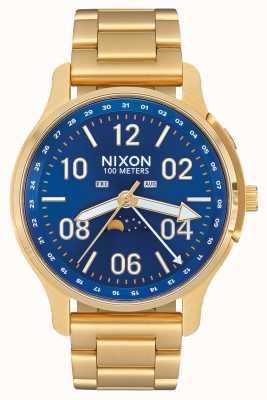 Nixon アセンダー|オールゴールド/ブルーサンレイ|ゴールドIPスチール|青い文字盤 A1208-2735-00