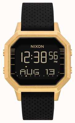 Nixon サイレンss  ゴールド/ブラックlh  デジタル 黒のシリコンストラップ A1211-2970-00