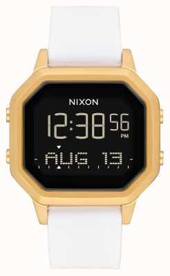 Nixon サイレンss |ゴールド/ホワイト|デジタル|白いシリコンストラップ A1211-508-00