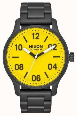 Nixon パトロール オールブラック/イエロー ブラックIPスチールブレスレット 黄色の文字盤 A1242-3132-00