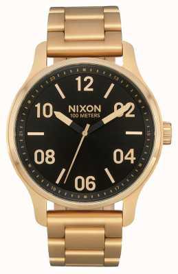 Nixon パトロール ゴールド/ブラック ゴールドIPスチールブレスレット ブラックダイヤル A1242-513-00