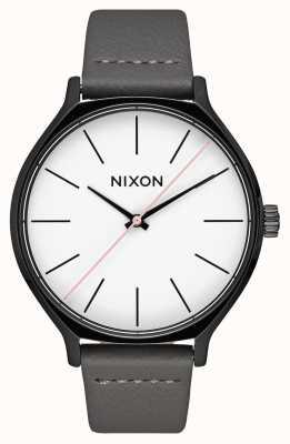 Nixon クリークレザー ブラック/グレー グレーレザーストラップ 白い文字盤 A1250-007-00